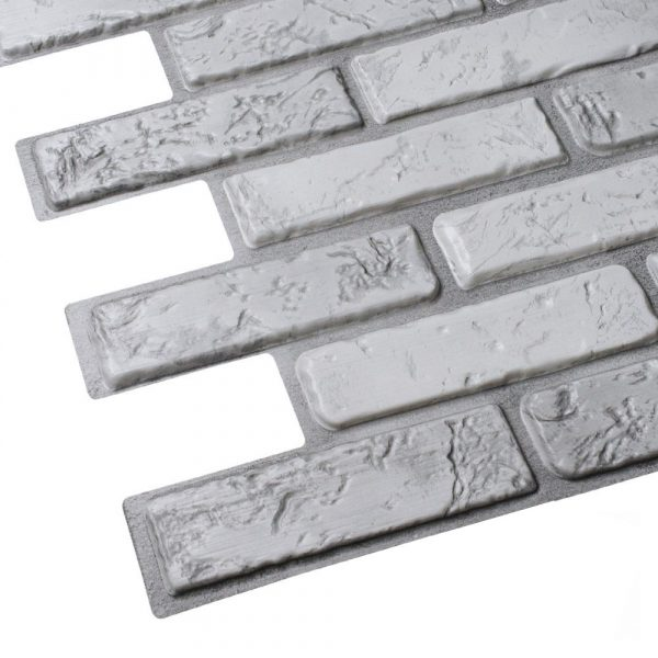 Väggpanel - Grå naturtegel i PVC - 10 pack
