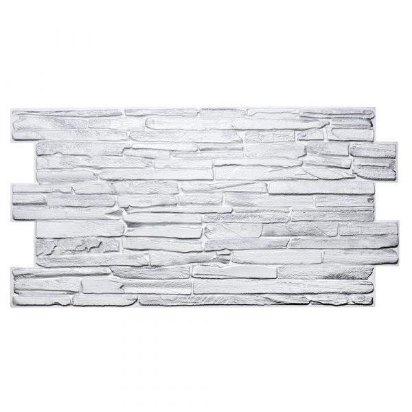 Väggpanel - vit sten i PVC - 5 pack